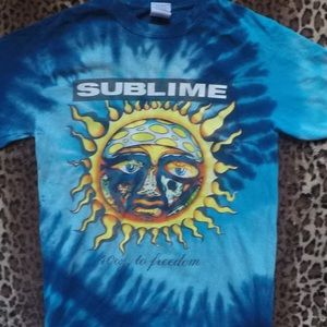 Vintage early 2000s bright blue sublime concert t